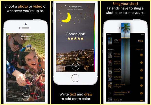 Slingshot app screen shots