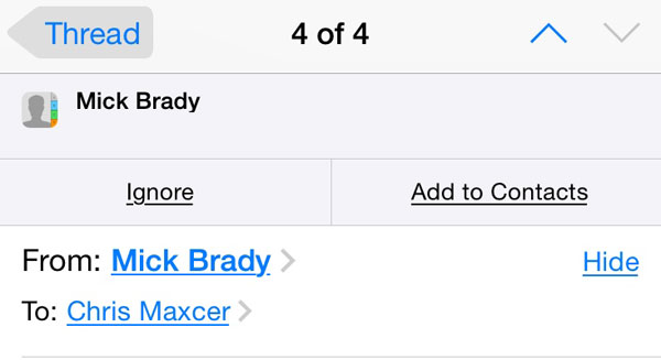 iOS 8 mail contacts