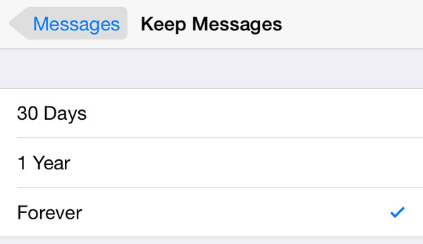 iOS 8 keep messages