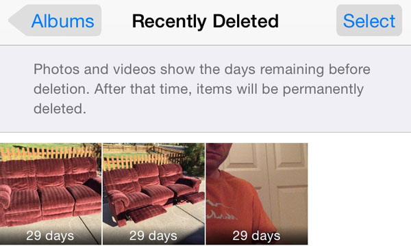 iOS 8 photos recently deleted