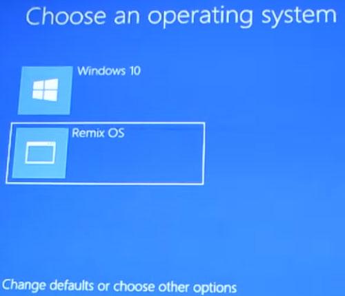 Remix OS installation screen