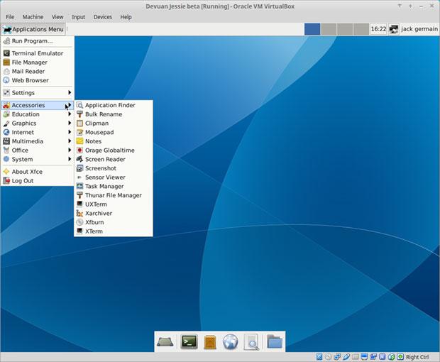 desktop view of Devuan Jessie 1.0 beta
