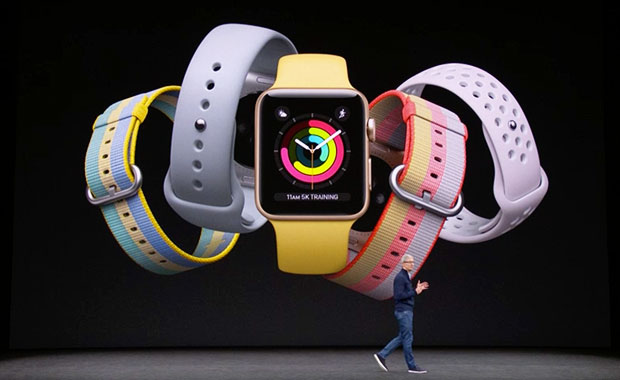 Apple Watch Series 3 with Tim Cook on stage