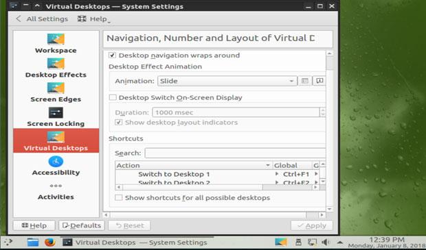 GeckoLinux Plasma settings panel for virtual desktops