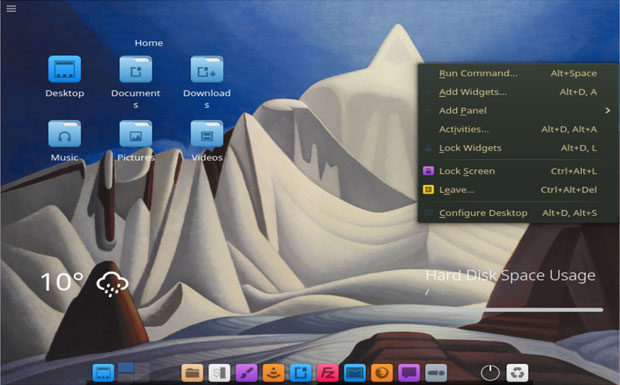 Bluestar Linux panel and dock