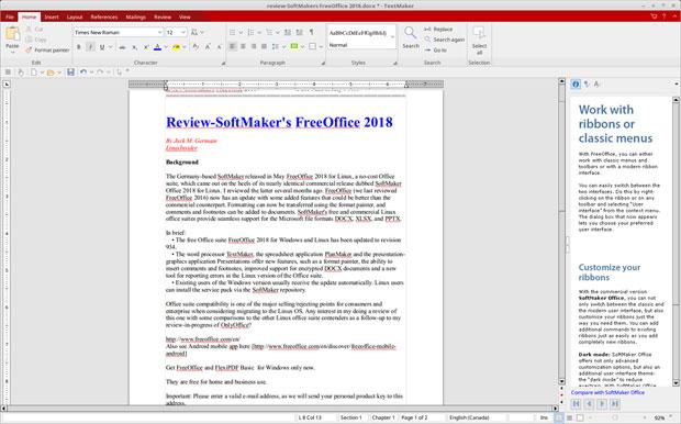 FreeOffice 2018 TextWriter ribbon interface