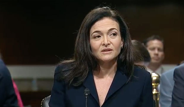 Facebook COO Sheryl Sandberg testifies before The Senate Intelligence Committee in a hearing on foreign influence operations and their use of social media platforms on Sept. 5, 2018.