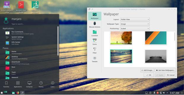 Manjaro-GNOME user interface