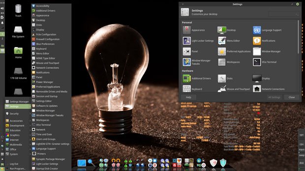 Kodachi Linux main menu software applications and settings panel