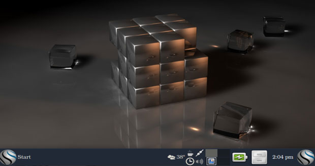 Blue Collar Linux's modified Xfce desktop design