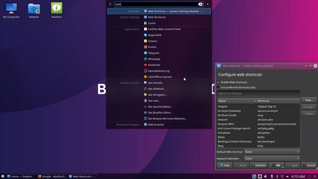 Netrunner 19.01's Web Shortcut tool