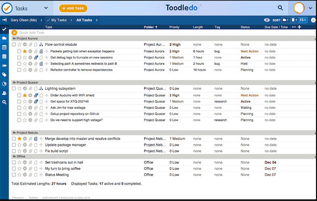 Toodledo's user interface