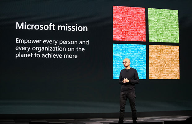 Microsoft CEO Satya Nadella speaking onstage at MWC Barcelona