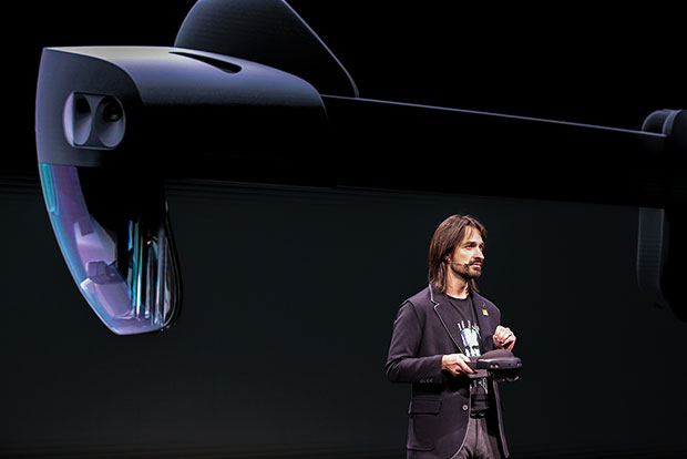 Microsoft Technical Fellow Alex Kipman unveils HoloLens 2 at MWC Barcelona.