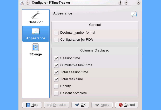 KTimeTracker settings panel