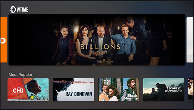 Apple TV shows screen