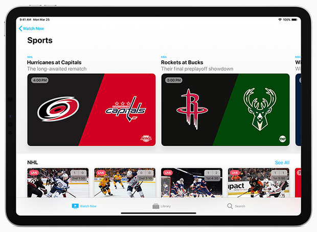 Apple TV app iPad sports