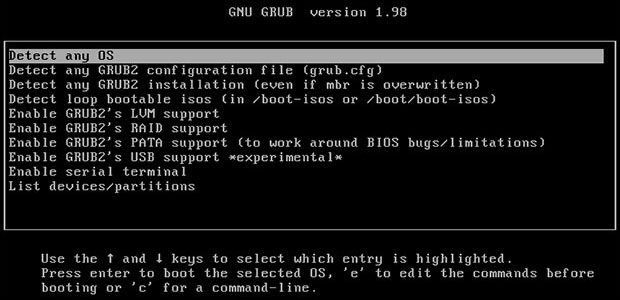 Linux GRUB repair restart screenshot