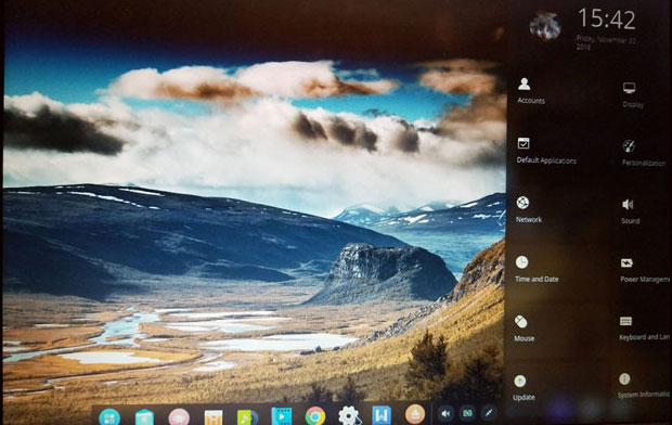 Deepin Linux 15.10 Desktop slide-out control panel and dock screenshot