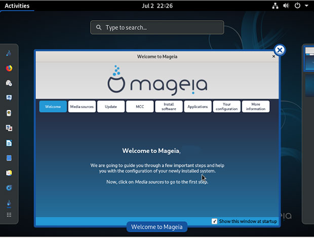 Mageia's Welcome Application, shown in the GNOME desktop edition