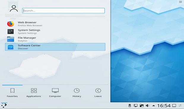 KDE Neon default desktop view