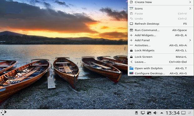 KDE Neon Plasma 5 menu