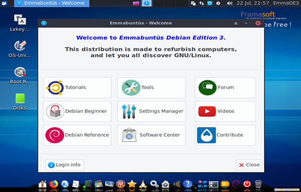 Emmabuntus Welcome screen tools, tutorials and user guides