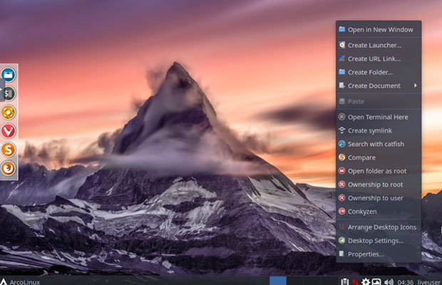 ArcoLinux right-click secondary menu is a staple in the Xfce desktop
