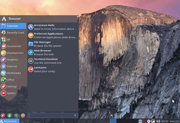 ArcoLinux installs into an easy-to-use Xfce desktop environment