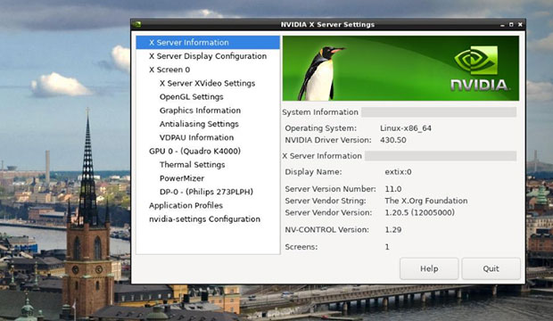 ExTix 19.10 provides automatic access by default to Nvidia's graphics driver.