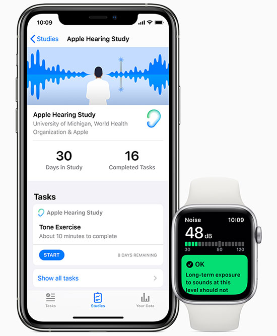 Apple Research App, iPhone 11, Apple Watch Series 5 hearing study