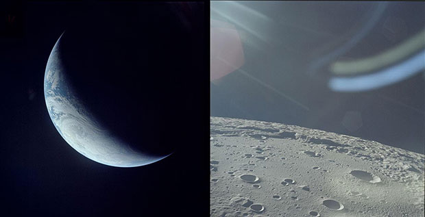 Crescent Earth by Apollo 4, November 1967 and Moon Surface by Apollo 12, November 1969.