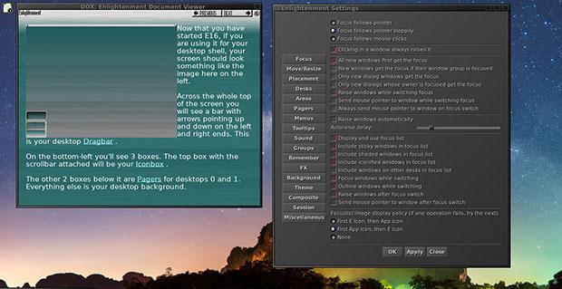 Elive Linux control panels