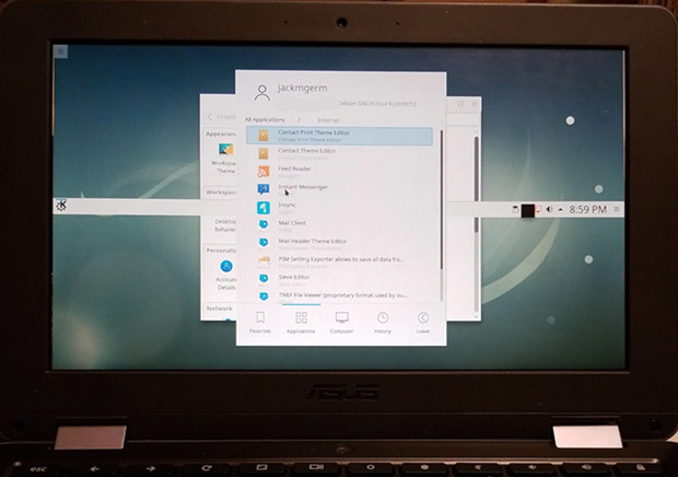 KDE on Chromebook panel bar