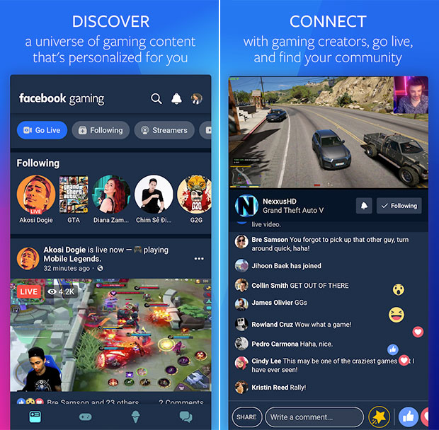 Facebook Gaming: Descubra, Conecte-se