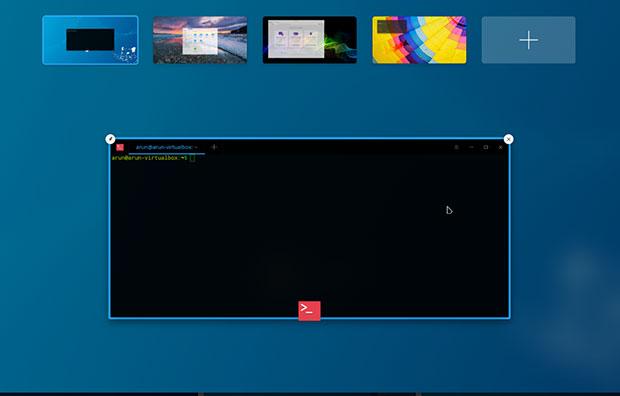 UbunteeDDE Beta virtual workspace display