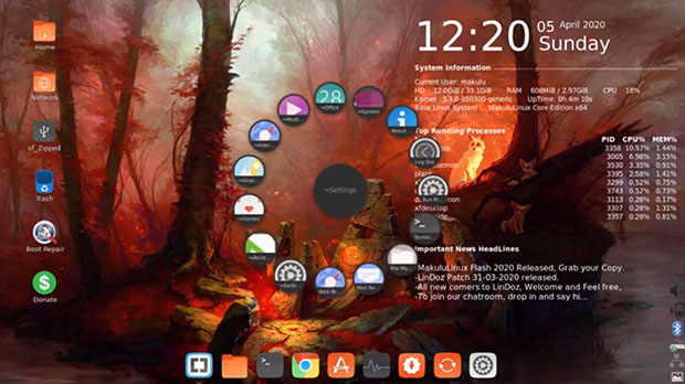 MakuluLinux Core 2020 spin-wheel style circular menu display