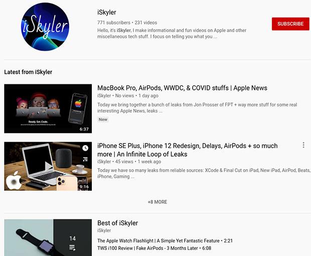 Canal do iSkylar no YouTube