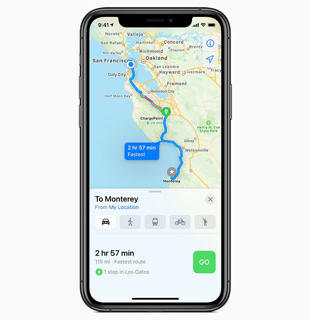 Apple maps EV routing