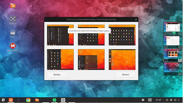 MakuluLinux Shift desktop hybrid design