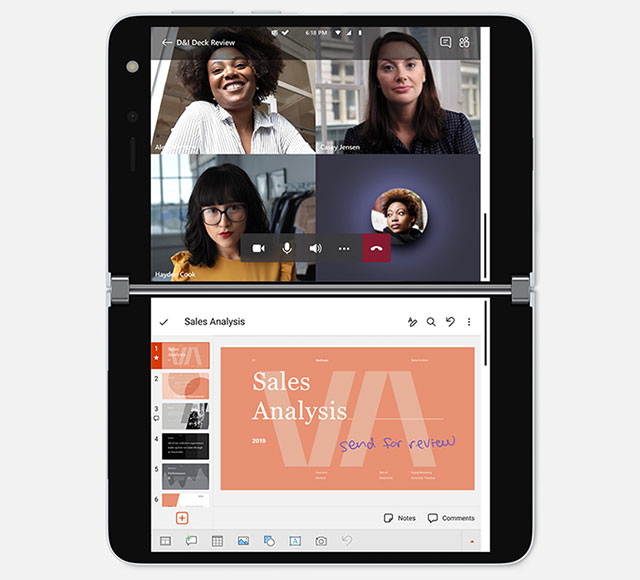 Microsoft Surface Duo video conference PowerPoint