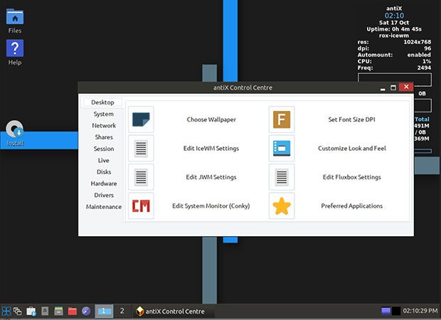 antiX Linux control center and  settings panels