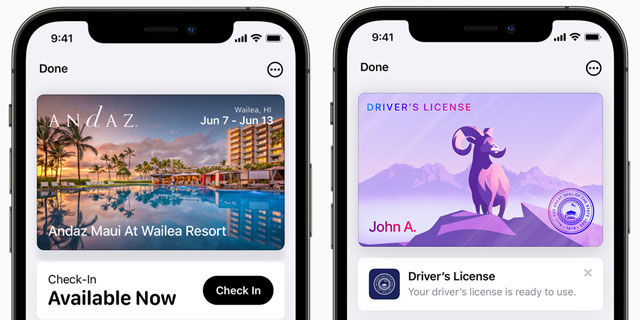 iPhone iOS 15 wallet hotel key, driver's license