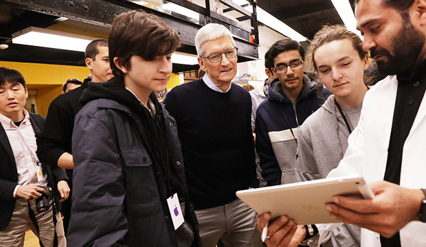 Tim Cook at the Apple education event at Lane Tech College Prep High School in Chicago