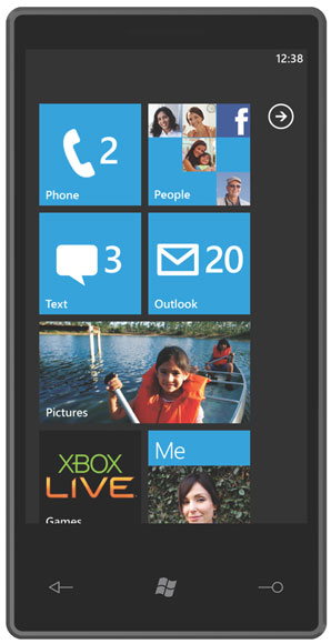 Microsoft Windows Mobile 7 start screen