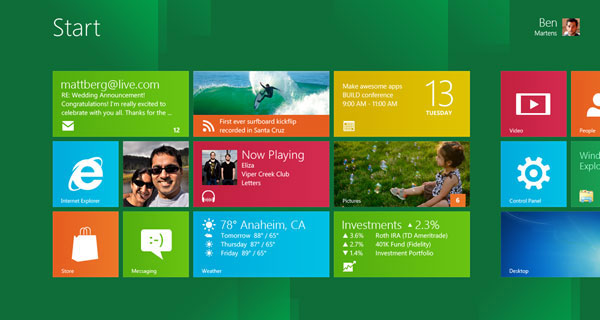 A Windows 8 start screen