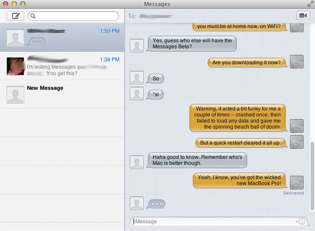 Messages beta for OS X Mountain Lion