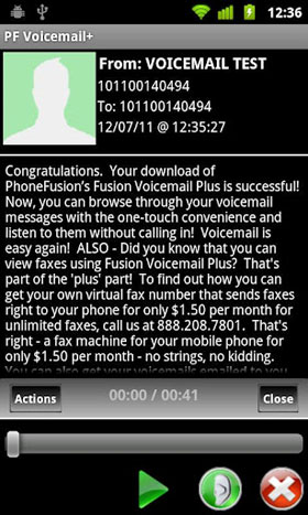 visual voicemail plus phonefusion