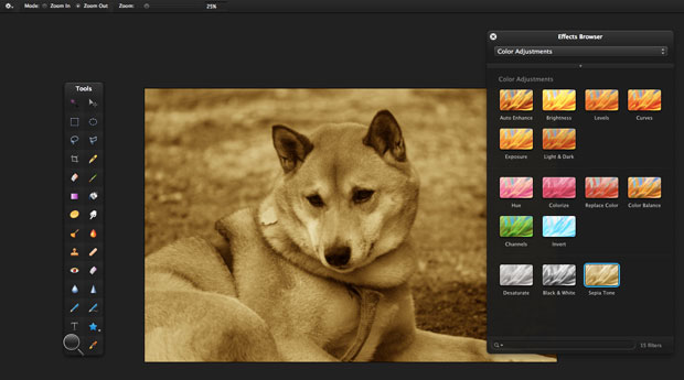 Pixelmator effects browser