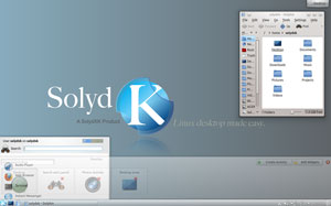The KDE desktop stars in SolydK.